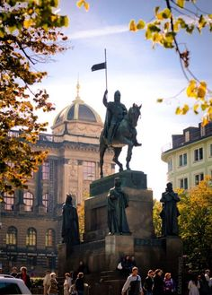 Josef Václav Myslbek - The sculpture of St.Wenceslas and other four main Czech saint patrons - St.Adalbert of Prague (Vojtěch), St.Agnes of Bohemia and St.Procopius (Prokop) at Wenceslas Square, Prague, Czechia (installed Beautiful Places In The World, Most Beautiful Cities, Santa Ines, Travel Around The World, Around The Worlds, Equestrian Statue, Visit Prague, Prague Travel, Prague Czech Republic