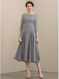 JJsHouse A-Line Scoop Neck Tea-Length Zipper Up Sleeves Sleeves No Other Colors General Plus Chiffon Lace Mother of the Bride Dress. Mob Dresses, Tea Length Dresses, Fashion Dresses, Bridesmaid Dresses, Bride Dresses, Mother Of Groom Dresses, Bride Groom Dress, Mother Of The Bride, Vestidos Mob