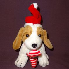 "Puppy Dog Santa Hat Candy Cane Plush Stuffed Animal 7"" Brown Red White Christmas #Unbranded"