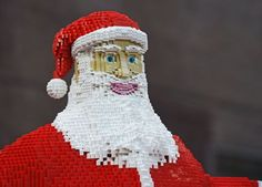 Lego display in Liverpool One with Santa in his sleigh and reindeers made entirely from 700,000 Lego bricks