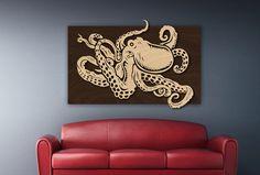 THE OCTOPODA - Wood Carved Octopus Piece on Wood by LoveTheGrain on ETSY #woodart #decor #octopus #seacreature