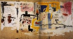 Page: Per Capita Artist: Jean-Michel Basquiat Completion Date: 1981 Style: Neo-Expressionism Genre: figurative painting Technique: acrylic, crayon, graphite Material: canvas