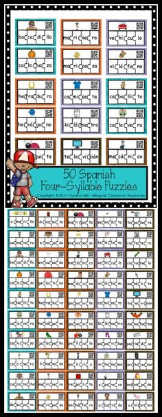 Help your students identify Spanish syllables and build words with this fun set. Each puzzle features a 4 syllable word with a picture and self-checking QR codes. Use the picture mat to start your puzzle.