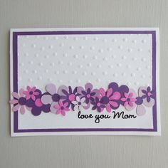 Mother's Day cards Greeting cards floral cards purple cards spring cards love you Mom cards pretty cards for Mom Handmade/Homemade cards Mom Cards, Fathers Day Cards, Cards Diy, Gift Cards, Handmade Birthday Cards, Greeting Cards Handmade, Handmade Greetings, Birthday Gifts, Pinterest Cards