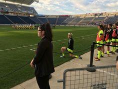 Megan Rapinoe kneeling in solidarity with Colin Kaepernick. #USWNT #MeganRapinoe