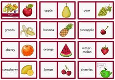 """Englisch in der Grundschule: Dominos """"fruit"""" English Classroom, Classroom Language, Preschool Education, Preschool Worksheets, English Lessons, Learn English, English Resources, Fruits For Kids, Language Quotes"""