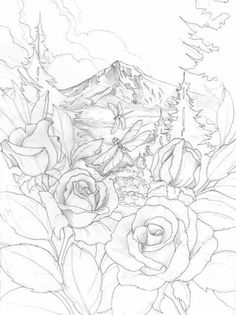 Roses Dragonfly Coloring Pages Colouring Adult Detailed Advanced Printable Kleuren Voor Volwassenen Bergsma Gallery Press Paintings Originals
