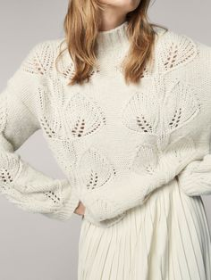 Spring Summer 2017 Women´s KNIT SWEATER WITH OPENWORK DETAIL at Massimo Dutti for 2795. Effortless elegance!