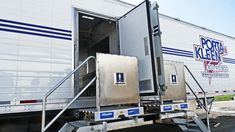Porta Kleen's Mobile Shower Trailer features 16 private stalls, hot water, and sinks with mirrors. Trailer is divided in half to accommodate both genders. Dressing Area, Shower Doors, Entrance, Sink, Water, Sink Tops, Gripe Water, Walk In Closet, Entryway