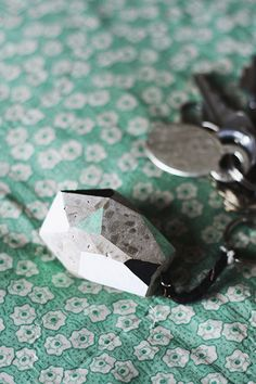 Cement Faceted Key Chain