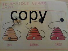 Children's, boys and girls behaviour chart. Move the bee up and down the chart as and when good, warning and timeout are needed. Can be found on https://www.etsy.com/uk/listing/190710235/boys-girls-behaviour-chart-good-warning?