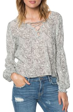 Main Image - O'Neill Claudine Print Lace-Up Top