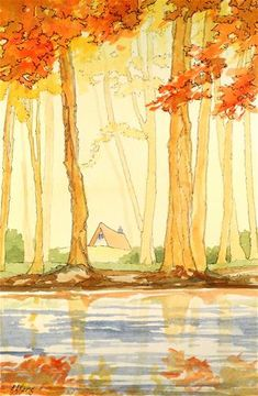 DPW Fine Art Friendly Auctions - Soft Autumn Mist Storybook Cot... by Alida Akers