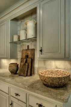 colors, decor, kitchen, trim, whitewashed oil rubbed cabinets, tumbled travertine tile backsplash, drawer pulls, hardware, cutting board