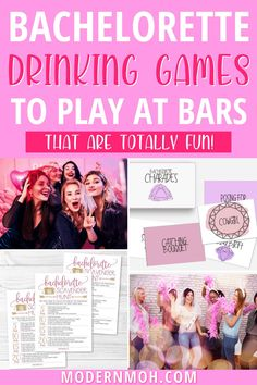 5 bachelorette drinking games to play at the bars that are totally fun! #bachelorettepartygames #bachelorettepartybargames #ModernMOH Bachelorette Drinking Games, Bachelorette Dares, Bachelorette Party Scavenger Hunt, Bachelorette Party Planning, Bar Games, Games To Play, Funny Drinking Games, Truth Or Dare Games