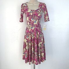 Lularoe Nicole womens XXS pink multicolor floral knee length fit flare dress NWT #LuLaRoe #AnyOccasion