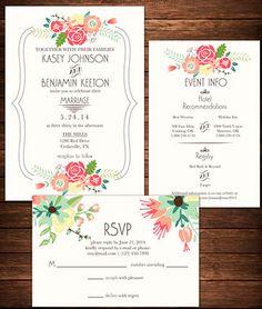 Invitaciones para tu boda, impresas con flores coloridas