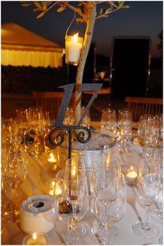 Wedding dinner below the pine trees