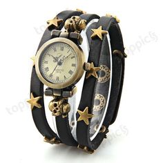 Quartz Movement Wrist Watch Wristwatch Star Skull Rivet Leather Wristband Women   eBay