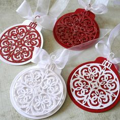 Marybeth Lopez used Serendipity Stamps Ornament Die to make her set of tags.