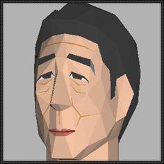 Shinzo Abe Head Papercraft Free Template Download - http://www.papercraftsquare.com/shinzo-abe-head-papercraft-free-template-download.html