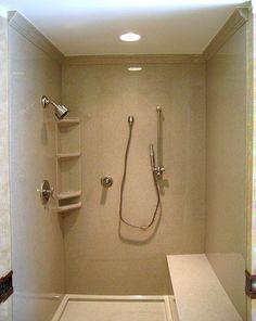 Gallery of installed standard/custom shower bases, shower pans, shower caddies, shower doors, shower seats Corian Shower Walls, Bathroom Shower Panels, Shower Seat, Shower Doors, Shower Remodel, Bath Remodel, Crown Molding Bathroom, Moulding, Custom Shower Base