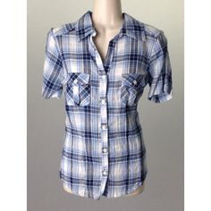 Blue Plaid Button Down Shirt, Size Small ($15) ❤ liked on Polyvore