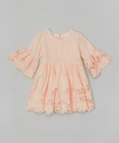 Look at this #zulilyfind! Peach Floral Lace Babydoll - Toddler & Girls by Blossom Couture #zulilyfinds