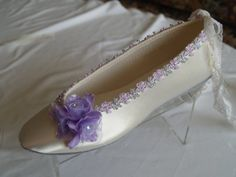 Brides Wedding Shoes Flats Ivory Satin Flats with by NewBrideCo ☆