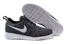 Nikes 677243-010 Flyknit Roshe Run gray white mesh men running shoes