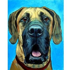 Great Dane Portrait Dog Art 8x10 or 11x14 Print of Original Painting by Dottie Dracos