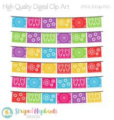 Papel Picado Clipart Mexican Banners Clip Art by StripedElephants