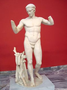 Diadumenos (diadem-bearer) of Delos, one of the Roman copies of the Bronze Diadumenos of greek sculptor Polykleitos (4th cent. BCE), who is considered one of the most prominent of the antiquity along with Phidias and Myron. National Archaeological Museum, Athens