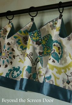 Easy Turquoise Valance + Coordinating Cafe Curtain 2 Different Ways - Sonya Hamilton Designs Kitchen Window Curtains, Kitchen Valances, Kitchen Window Treatments, Cafe Curtains, Valance Window Treatments, No Sew Curtains, Valance Curtains, Window Valances, Window Blinds