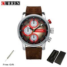 CURREN Chronograph Casual Watch Men Luxury Brand Quartz Military Waterproof Sport Watch Genuine Leather Men's Wristwatch 8170 #Affiliate