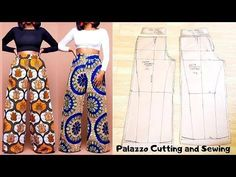 This video shows the making (Pattern drafting, cutting and sewing ) of a Palazzo Pant/ wide leg trouser /Culotte wi. Fashion Sewing, Diy Fashion, Ideias Fashion, Fashion Goth, Dress Sewing Patterns, Clothing Patterns, New Dress Pattern, Pattern Sewing, Pants Pattern Free