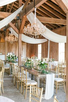 Wooden tables, gold chiavari chairs, soft draping, chandeliers and neutral florals   Spring wedding at Boone Hall Plantation in Charleston, SC   Dana Cubbage Weddings - Charleston Wedding Photographer