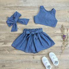 2019 Girls Stripe Sets Kids Clothing 2017 Summer Lotus Leaf Edge Sleeveless Top + Bow Pant DR 078 From. Baby Dress Design, Baby Girl Dress Patterns, Little Girl Outfits, Little Girl Dresses, Toddler Outfits, Kids Outfits, Dress Outfits, Cute Baby Clothes, Mode Style