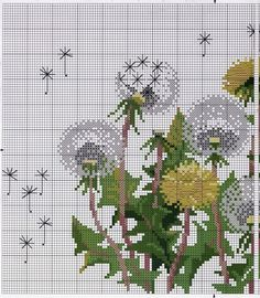 Embroidery Stitches Patterns Dandelion cross stitch pattern free More - Dandelions cross stitch pattern free. Supplies: DMC cotton floss 11 colors 16 count flax cotton fabric for cross stitch Needle Finished size 21 * 30 cm Click picture to zoom . Cross Stitch Needles, Beaded Cross Stitch, Cross Stitch Kits, Cross Stitch Designs, Cross Stitch Embroidery, Embroidery Patterns, Hand Embroidery, Dragonfly Cross Stitch, Cross Stitch Supplies