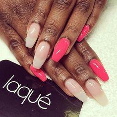 Coffin shaped nails by laqué nail bar @laquenailbar
