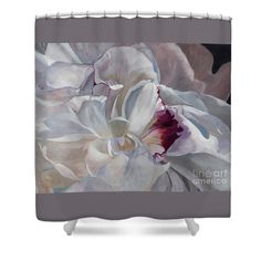 White Beautiful Peony Shower Curtain featuring the painting White Peony By Marilyn Nolan- Johnson