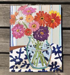 Zinnias are so happy! Flower Sketches, Drawing Flowers, Acrylic Painting Flowers, Happy Paintings, Abstract Painters, Plant Art, Old Art, Painting Inspiration, Flower Art