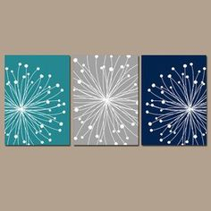 DANDELION Wall Art, CANVAS Or Prints Teal Gray Navy Bedroom, Bathroom  Artwork, Bedroom
