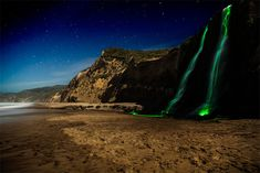 """coolthingoftheday: """" Neon Luminance is an art project involving a series of neon-lit waterfalls by artists Sean Lenz and Kristoffer Abildgaard. The pair collaborated by dropping powerful glowsticks of various colors down waterfalls across northern..."""