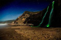 Neon Waterfalls by Sean Lenz and Kristoffer Abildgaard  #light_art