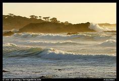 Waves, late afternoon, seventeen-mile drive, Pebble Beach. California, USA