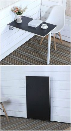 12 floating desks that look great and take up minimal space - Black drop-leaf desk. This hinged desk folds flat and saves space when it isn't in use. Small Room Decor, Small Room Design, Home Room Design, House Design, Space Saving Furniture, Home Decor Furniture, Space Saving Desk, Furniture Ideas, Collapsible Desk