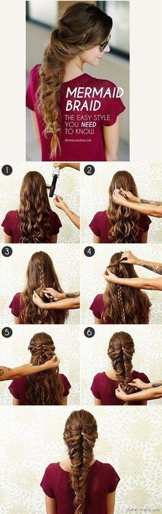 Best Hair Braiding Tutorials - Mermaid Braid - Easy Step by Step Tutorials for B. Hairstyles, Best Hair Braiding Tutorials - Mermaid Braid - Easy Step by Step Tutorials for Braids - How To Braid Fishtail, French Braids, Flower Crown, Side Braid. Pretty Braided Hairstyles, Fast Hairstyles, Braided Hairstyles Tutorials, Unique Hairstyles, Wedding Hairstyles, Hairstyle Ideas, Model Hairstyles, Braid Hairstyles, Hairstyles Pictures