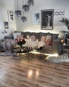 46 Stunning Romantic Living Room Decor Ideas - Popy Home Romantic Living Room, Chic Living Room, Cozy Living Rooms, Living Room Grey, Living Room Kitchen, Living Room Modern, Living Room Designs, Living Room Decor, Kitchen Decor