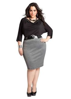 Curvy Woman Gray Pencil Skirt Black Top Black Belt and Black High Heels